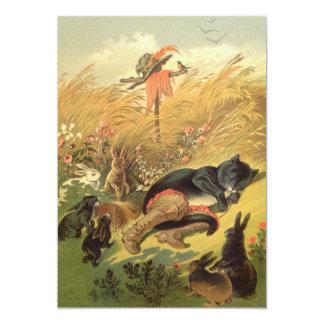 Cuento de hadas del Victorian del vintage, Puss en Invitación 12,7 X 17,8 Cm