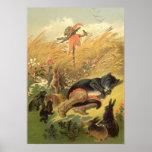 Cuento de hadas del Victorian del vintage, Puss en Poster