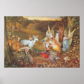 Cuento de hadas del vintage, bosque encantado de F Poster