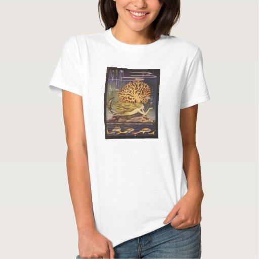 Cuento de hadas del vintage, little mermaid en t shirts