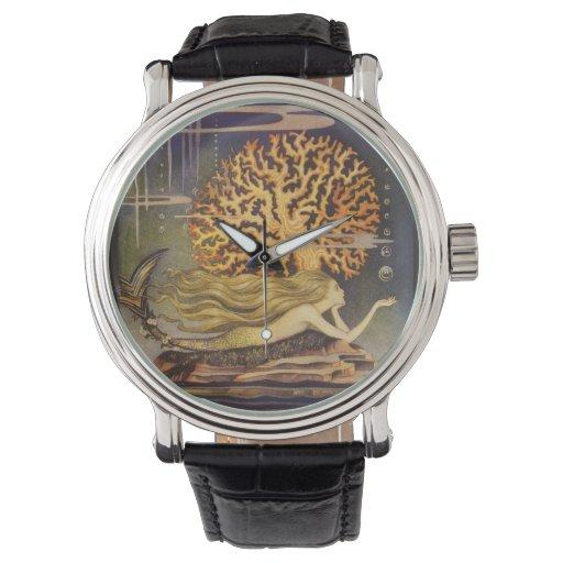 Cuento de hadas del vintage, little mermaid en relojes de pulsera