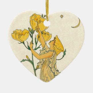 Cuento de hadas del vintage, onagra, grúa de adorno navideño de cerámica en forma de corazón