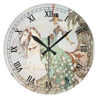 Cuento de hadas del vintage, princesa Minette, Kay Reloj Redondo Grande