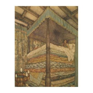 Cuento de hadas del vintage, princesa y guisante, cuadro de madera