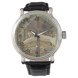 Cuento de hadas del vintage, princesa y guisante, reloj de mano
