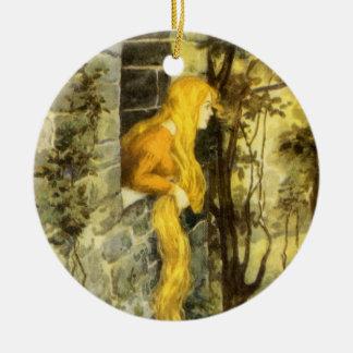 Cuento de hadas del vintage, Rapunzel con el pelo Adorno Navideño Redondo De Cerámica