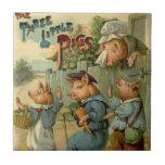 Cuento de hadas del vintage, tres pequeños cerdos azulejo cuadrado pequeño