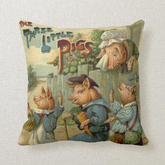 Cuento de hadas del vintage, tres pequeños cerdos cojín