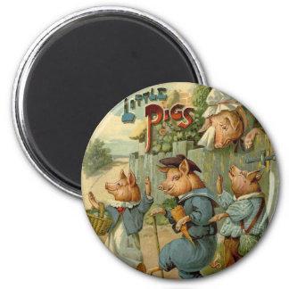 Cuento de hadas del vintage, tres pequeños cerdos imán redondo 5 cm