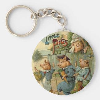 Cuento de hadas del vintage, tres pequeños cerdos llavero redondo tipo pin