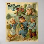 Cuento de hadas del vintage, tres pequeños cerdos póster