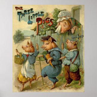 Cuento de hadas del vintage, tres pequeños cerdos poster