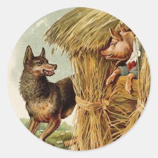 Cuento de hadas del vintage, tres pequeños cerdos pegatina redonda