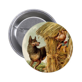Cuento de hadas del vintage, tres pequeños cerdos pin redondo 5 cm