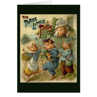 Cuento de hadas del vintage, tres pequeños cerdos tarjeta de felicitación
