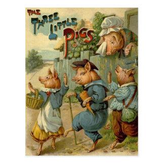 Cuento de hadas del vintage, tres pequeños cerdos tarjeta postal