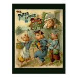 Cuento de hadas del vintage, tres pequeños cerdos postal