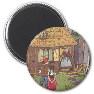 Cuento de hadas, Hansel y Gretel del vintage por Imán Redondo 5 Cm