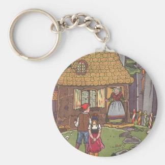 Cuento de hadas, Hansel y Gretel del vintage por Llavero Redondo Tipo Pin
