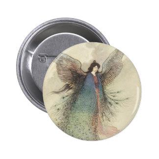 Cuento de hadas japonés del vintage, la doncella pin redondo de 2 pulgadas