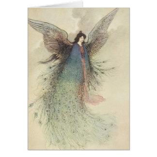 Cuento de hadas japonés del vintage, la doncella tarjeta de felicitación