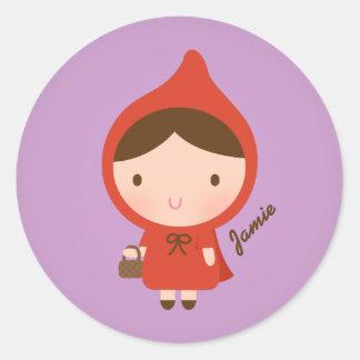 Cuento de hadas lindo del Caperucita Rojo para los Pegatina Redonda
