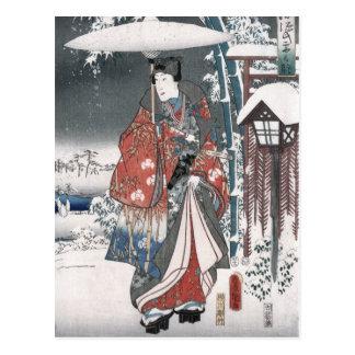 Cuento del japonés Ukiyo E del vintage de Genji Tarjeta Postal