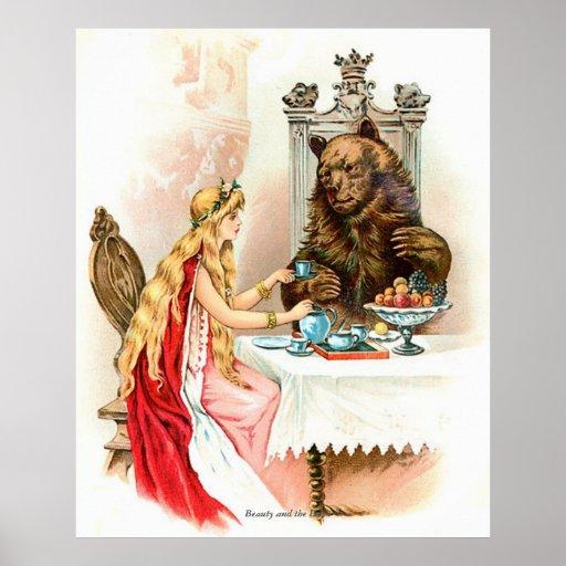 Cuentos de hadas clásicos - belleza y la bestia póster