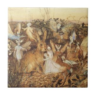Cuentos de hadas del vintage, conejo entre las azulejo cuadrado pequeño