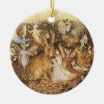 Cuentos de hadas del vintage, conejo entre las had ornamento de navidad