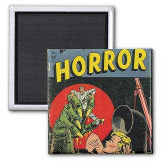 Cuentos del horror cómicos imán cuadrado