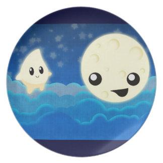 Cuentos luna y estrella de la noche platos para fiestas
