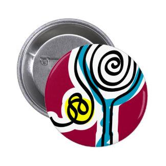 Cuerda colorida del espiral del tenis pin redondo de 2 pulgadas
