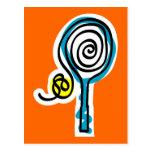 Cuerda colorida del espiral del tenis postal