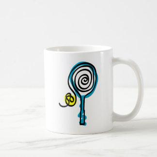 Cuerda colorida del espiral del tenis taza básica blanca