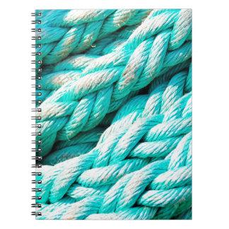 Cuerda de barco azul apenada de la aguamarina - libros de apuntes con espiral