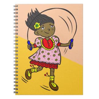 Cuerda de salto del chica notebook