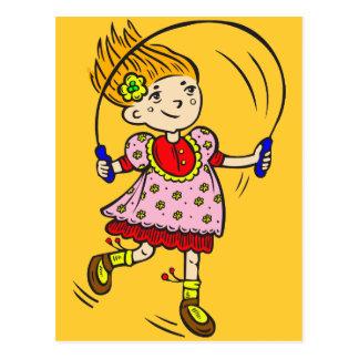 Cuerda de salto del chica postales