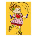 Cuerda de salto del chica tarjetas postales