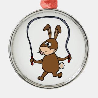 Cuerda de salto del conejo de conejito adorno redondo plateado