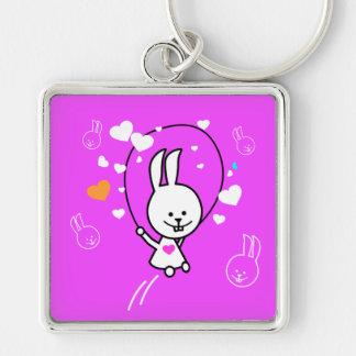 Cuerda de salto del conejo del dibujo animado - ro llavero cuadrado plateado