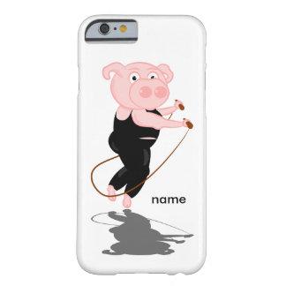 Cuerda de salto regordeta del cerdo funda para iPhone 6 barely there