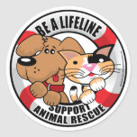 Cuerda de salvamento: Rescate de Amimal de la Pegatinas Redondas