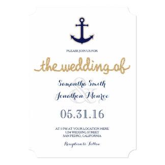 Cuerda e invitación náutica del boda del ancla