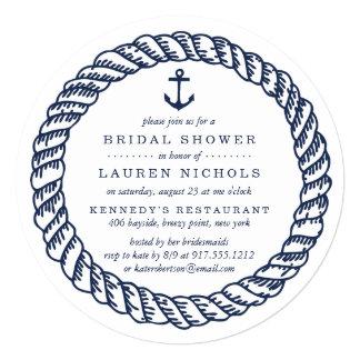 """Cuerda náutica de la marina de guerra y ducha invitación 5.25"""" x 5.25"""""""