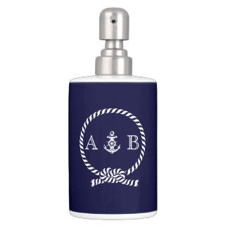 Cuerda náutica y ancla de los azules marinos cones jabonera