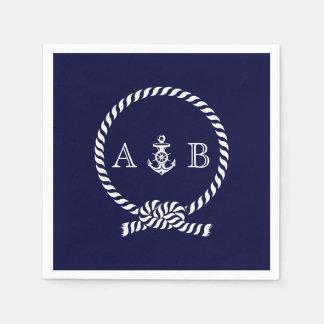 Cuerda náutica y ancla de los azules marinos cones servilletas desechables