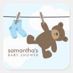 Cuerda para tender la ropa del bebé {azul} pegatinas cuadradases