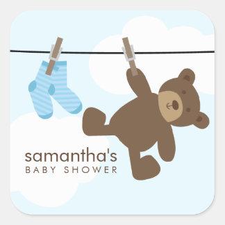 Cuerda para tender la ropa del bebé {azul} pegatina cuadrada