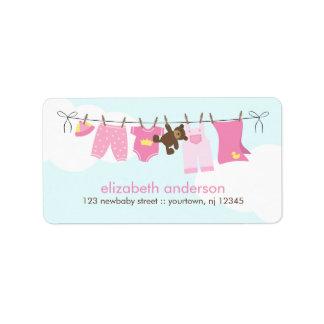 Cuerda para tender la ropa del bebé {rosa} etiquetas de dirección